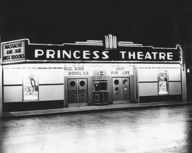 The Princess Theater opened in 1935. It was closed and demolished to expand the bank next door in the late 1970's.