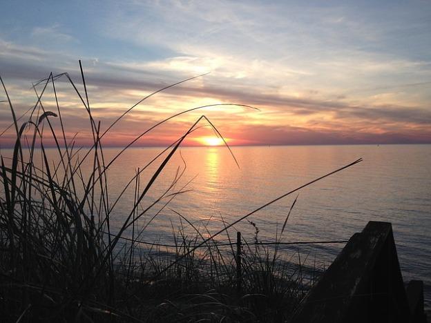 a michigan sunset on Lake Michigan