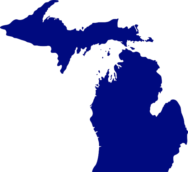 solid blue image of the upper and lower peninsulas of Michigan USA