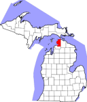 map of Michigan, showing the city of Petoskey